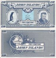 Jason Islands 10 Pound, Gentoo Penguin & Len Hall / Volcano, 1979, UNC - Falkland Islands