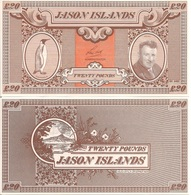 Jason Islands 20 Pound, King Penguin & Len Hall / Volcano, 1979, UNC - Falkland Islands