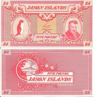 Jason Islands 5 Pounds, Rockhopper Penguin & Len Hall / Volcano, 1979, UNC - Islas Malvinas