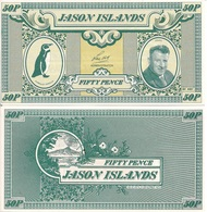 Jason Islands 50 Pence, Humboldt Penguin & Len Hall / Volcano, 1979 UNC - Falkland Islands
