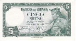 BILLETE DE 5 PTAS DEL AÑO 1954 SERIE P DE ALFONSO X EN CALIDAD EBC (XF) (BANKNOTE) - [ 3] 1936-1975 : Regime Di Franco