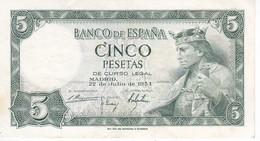 BILLETE DE 5 PTAS DEL AÑO 1954 SERIE V DE ALFONSO X EN CALIDAD MBC (VF) (BANKNOTE) - [ 3] 1936-1975 : Régimen De Franco
