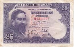 BILLETE DE ESPAÑA DE 25 PTAS DEL AÑO 1954 ISAAC ALBENIZ  SERIE H - [ 3] 1936-1975 : Régence De Franco