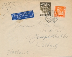 Nederlands Indië - 1937 - 7,5 Cent Jamboree & 12,5 Cent Wilhelmina Op Vliegbrief Van Bandoeng Naar Tilburg - Niederländisch-Indien