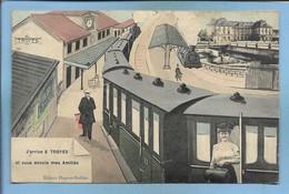 Troyes (10) J'arrive (en Train Gare Wagons) Et Vous Envoie Mes Amitiés 2 Scans (adresse Au Verso à Rilly-Sainte-Syre) - Troyes