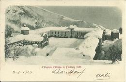 Oropa (Biella) Santuario, L'Ospizio Sotto La Neve Nel Febbraio 1888 - Biella