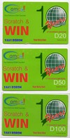 LOT GAMBIE 3 RECHARGES GSM GAMCEL D20 D50 D100 - Gambia