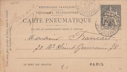 Carte Pneumatique 1900 - Cachet  Av. D'ORLEANS - Entiers Postaux