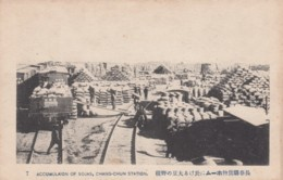 China Chang-chun Station Military Materiel 'Accumulation Of Sojas', Railroad C1930s Vintage Japanese Issued Postcard - China