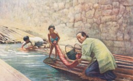 China, Washing Lauchi, Man And Child Wash Clothing In River C1900s/10s Vintage Tuck Series #9683 Postcard - China