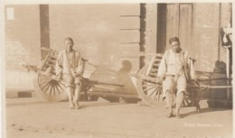 Shanghai China, Men Workers With Wheelbarrows C1910s Vintage Real Photo Postcard - China