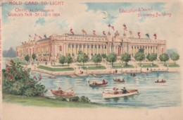 1904 St. Louis World's Fair Hold-to-Light C1900s Vintage Postcard, Education & Social Economy Building Image - Exhibitions