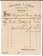 Note De Boucherie, Charcuterie G. Gaffner Spitalgasse Bern (3.8.1893) - Suisse