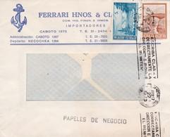 FERRARI HNOS & CIA-COMMERCIAL ENVELOPE PAPELES DE NEGOCIOS AN 1976 BANDELETA PARLANTE:ESCRIBA CLARA DIRECCION - BLEUP - Argentina