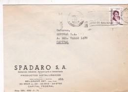 SPADARO SA. ENVELOPE CIRCULE BUENOS AIRES 1974 BANDELETA PARLANTE: JOSE DE SAN MARTIN - BLEUP - Argentina
