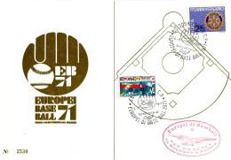 ITALIA - 1971 PARMA, BOLOGNA Europei Di Baseball 2 Annulli E 1 Timbro Rosso Su Cartoncino Ufficiale Del Comitato Organiz - Baseball