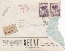 SEDAT-ENVELOPE CIRCULEE BUENOS AIRES 1967 RECOMMANDE STAMP A PAIR - BLEUP - Argentina