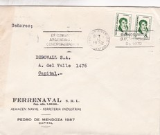 FERRENAVAL SRL- ENVELOPPE CIRCULEE BUENOS AIRES 1972 STAMP A PAIR BANDELETA PARLANTE 8° CONGRESO ARGENTINO COMER - BLEUP - Argentina