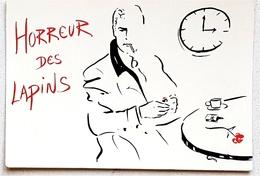 Cpsm DESSIN De A Fretet HORREUR DES LAPINS Homme Boit Un Café Et Attend Avec Une Fleur - Künstlerkarten