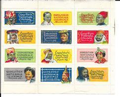 12 Vignettes Exposition Nationale Coloniale Marseille 1922 Feuille Complete Rare - Erinnophilie