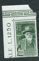 Italia 1955; Battista Grassi, Biologo; Francobollo D' Angolo. - 6. 1946-.. Repubblica