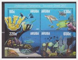 Aruba 2017 Sea-life Fish Coral Turtle S/S MNH - Vita Acquatica