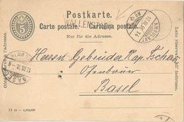 PK 26  Wallenstadt - Basel  (Stabstempel)           1896 - Entiers Postaux