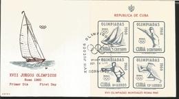 O) 1960 CUBA-CARIBBEAN, SPANISH ANTILLES, OLYMPIC GAMES ROME-SAILBOATS-MARKSMAN, FDC XF - FDC