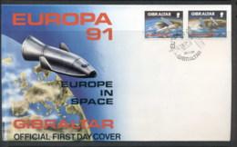 Gibraltar 1991 Europa Man In Space FDC - Gibraltar