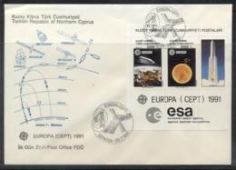 Cyprus Turkish 1991 Europa Man In Space MS FDC - Cyprus (Turkey)