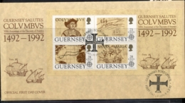 Guernsey 1992 Europa Columbus Discovery Of America MS FDC - Guernsey