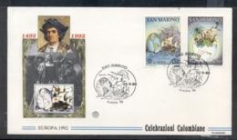 San Marino 1992 Europa Columbus Discovery Of America FDC - FDC
