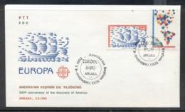 Turkey 1992 Europa Columbus Discovery Of America FDC - 1921-... Republic