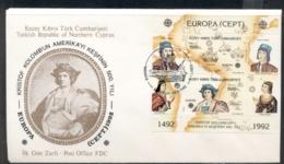 Cyprus Turkish 1992 Europa Columbus Discovery Of America MS FDC - Cyprus (Turkey)