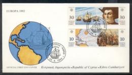 Cyprus 1992 Europa Columbus Discovery Of America FDC - Cyprus (Republic)