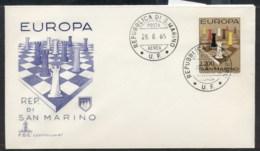 San Marino 1965 Europa Chess Pieces FDC - FDC