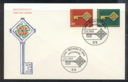 Germany 1968 Europa Key With Emblem Fluoro FDC - [7] Federal Republic