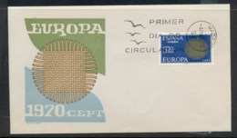 Spain 1970 Europa Woven Threads FDC - FDC