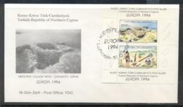 Cyprus Turkish 1994 Europa Scientific Discoveries MS FDC - Cyprus (Turkey)