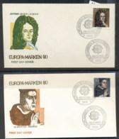 Germany 1980 Europa Celebrities 2x FDC - [7] Federal Republic
