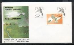 Andorra (Sp.) 1995 Europa Peace & Freedom FDC - Brieven En Documenten