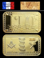 1 Lingot Plaqué OR ( GOLD Plated Bar ) - Franc-maçon Freemason Masonic - Coins