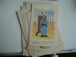 Lot De 16 Carte Jean Cheval Illustrateur Dessin Militaire - Autres