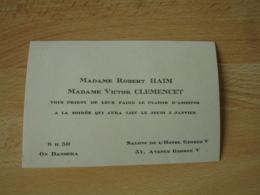 Faire Part  Madame Robert Haim Et Mme Victor Clemencet  Invitation Soiree Salon Hotel Georges - Faire-part