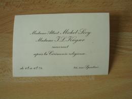 Albert Michel Levy Mme Kayser  Reception Apres Ceremonie Religieuse Rue Spontini - Faire-part