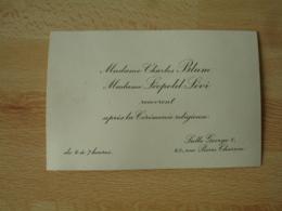 Faire Part  Mme Charles Blum Mme Leopold Levi Recevront Ceremonie Religieuse Salle Georges 5 - Faire-part