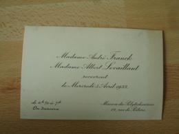 Faire Part Mme Andre Franck Mme Albert Levaillant Recevront Apres Ceremonie On Dansera Maison Des Polytechniciens - Non Classés
