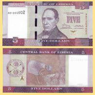 Liberia P31, $5, 5th Pres. Edward J. Roye / Woman Harvesting Rice UNC See W/m - Liberia
