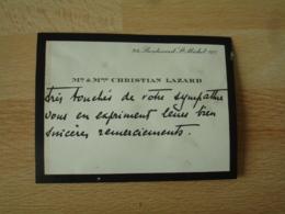 Faire Part M Et Mme Christian Lazard  Mention Manuscrite Remerciement - Faire-part