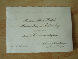 Faire Part Mme Albert Habib  Mme Jacques Penkovsky Recevront Apres Ceremonie Religieuse Hotel Georges 5 - Faire-part